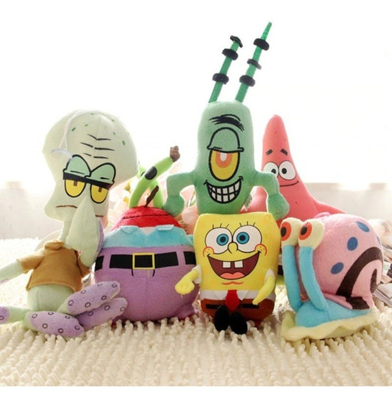 Bob Esponja Kit Com 6 Personagens De Pelúcia