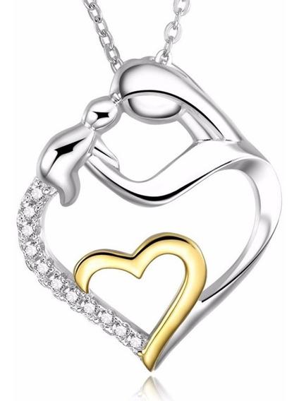 Colar Feminino C/ Pingente Coração Em Prata S925 E Ouro 18k