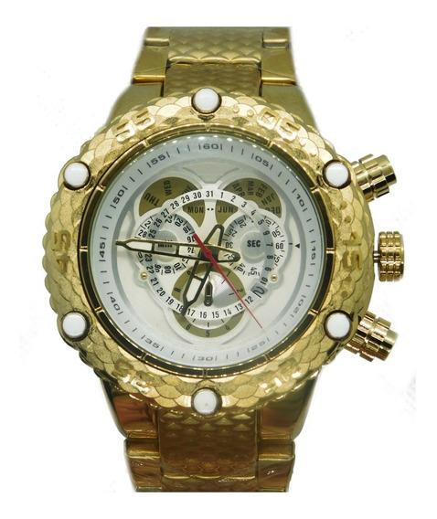 Relógio Masculino Pesado Aço Inoxidável Dourado Frete Grátis