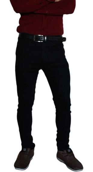 Pantalón Gabardina Corte Jeans Chupin Hombre Elastizado Negro Beige Azul