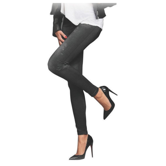 Leggin Ajustable Tipo Jeans Mezclilla Slim Lift Caresse Gris