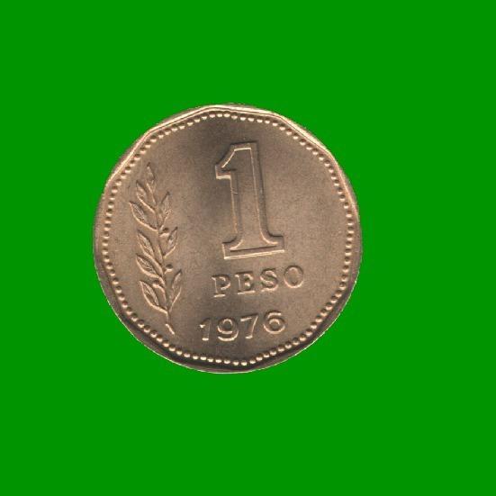 Moneda Argentina Pesos Ley 18188, $1,00 Año 1976, Estado Unc