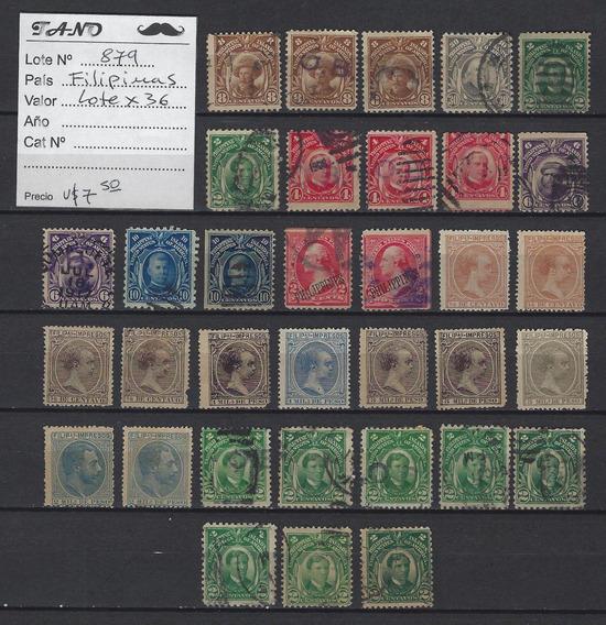 Lote879 Filipinas Lote De 36 Estampillas Antiguas