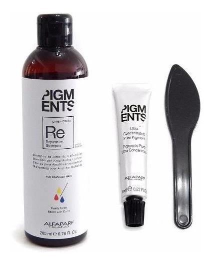 Kit Alfaparf Pigments Shampoo Reparador + Concentrado Color