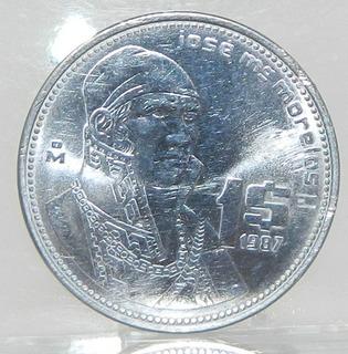 Moneda $1 Un Peso Morelos México Año 1987