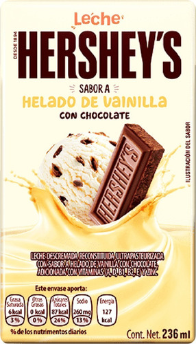 Imagen 1 de 2 de Leche Hershey's Sabor Helado De Vainilla Con Chocolate 236ml