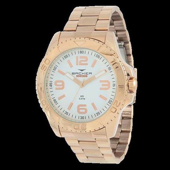 Relógio Backer Feminino Rosé Fundo Branco 6474113m Br