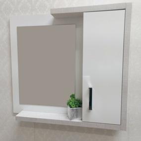 Espelheira Com Espelho Cap64cm- Armário Aéreo Para Banheiro