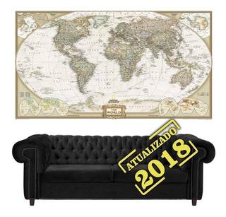 Mapa Mundi Poster 65x100cm Para Decorar Sala Não É De Raspar