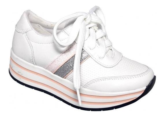 Tenis Plataforma Para Niña Simipiel Blanco Rosa Marca Tentac