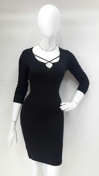 Vestido Negro Y Rosa De Dama