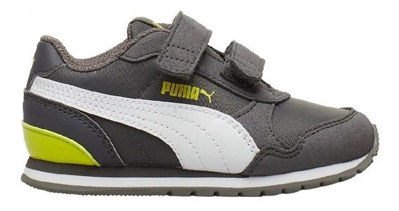Zapatillas Puma St Runner V2 Nl Velcro Gri/bla De Niños