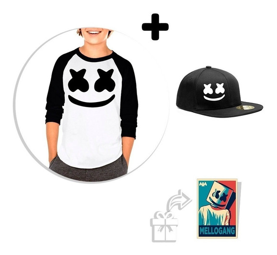 Kit De Playera Raglan Niño Marshmello + Snapback B + Sticker