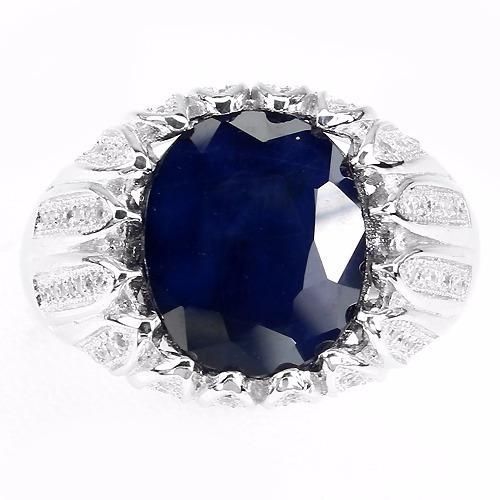 Anel Em Prata 925 Nr.29 Com Safira Azul Natural E Zircônias