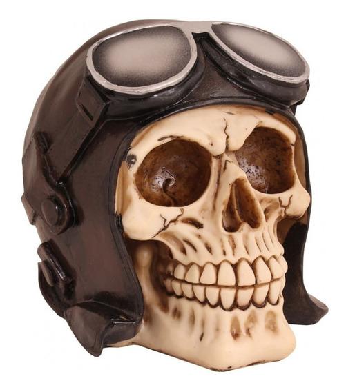 Caveira Resina Capacete Aviador Marrom 12cm Skull Avião