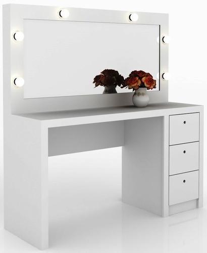 Mesa Con Espejo Dressoire Aparador Tocador 3 Cajones Y Luces
