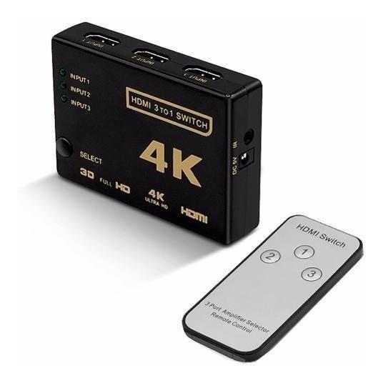 Hub Switch Hdmi 3 Portas Splitter Full Hd + Controle Remoto