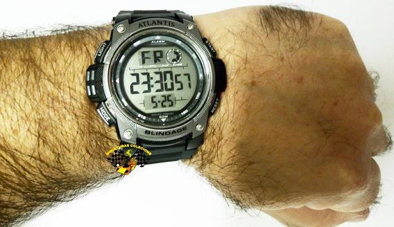 Relógio Masculino Cronômetro Luz Digital Atlantis G7441 Cinz