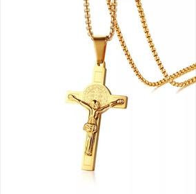 Crucifixo Cordão Masculino Colar Banhado Ouro Aço Inox Cruz