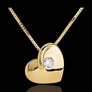 Show De Jóia! Ponto De Luz Coração Ouro 18k,750 E Diamante!