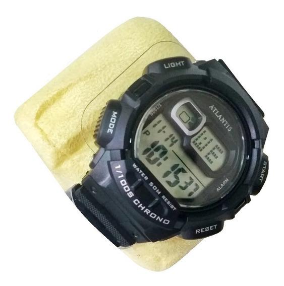Relógio Masculino Atlantis Original Preto Silicone G7464