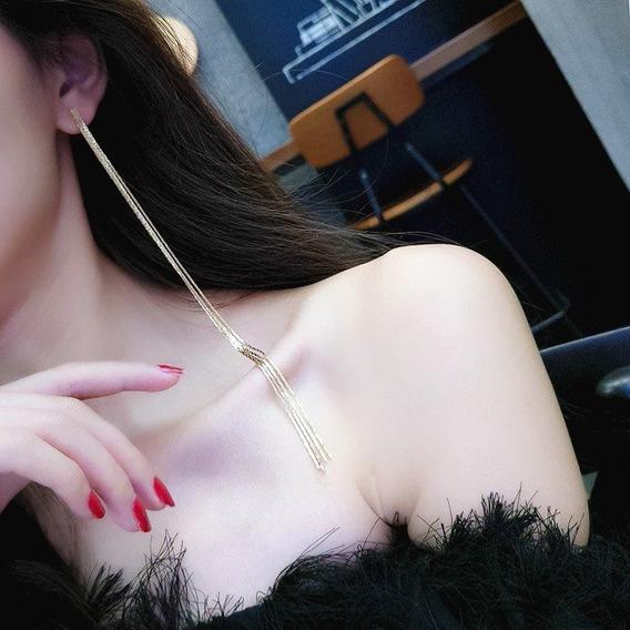 Luxo Fashion Maxxi Brinco Dourado Comprido 18 Cm 01