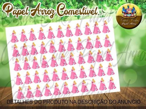 Imagem 1 de 1 de Princesa Aurora Bela Papel De Arroz Pirulito Cristal 3,5 Cm