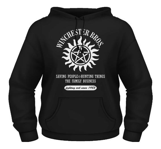 Sudadera Upernatural Hoodie Los Hermanos Winchester Negocio Local Logo Serie Todas Las Tallas Unisex