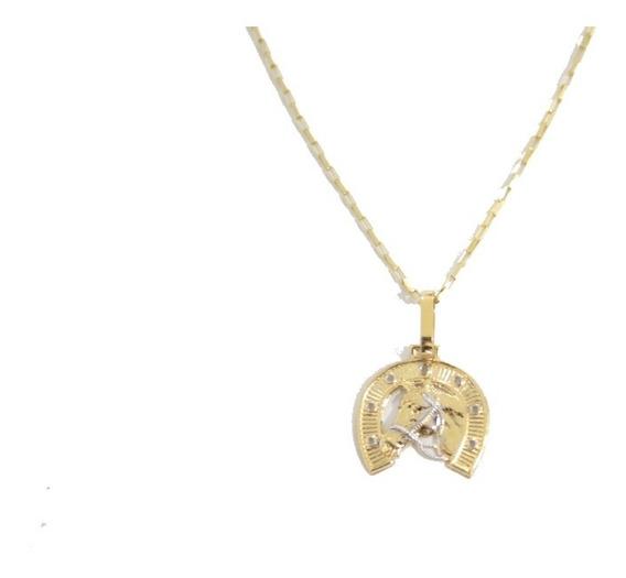 Corrente Cordão De Ouro 18k Cartier Pingente Ferradura