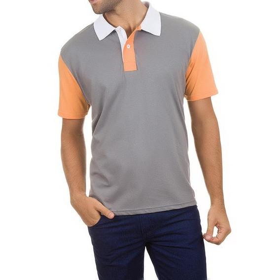 Camisa Polo Colombo Masculina Cinza Com Mangas Laranjas 3283