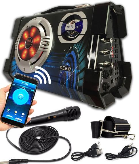Caixa De Som Amplificada Led Bluetooth Mp3 Sd Super Bass Mic