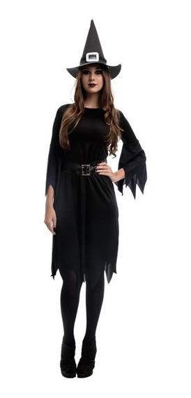 Fantasia Pra Festa Halloween Bruxa Feiticeira Adulto 36 A 50