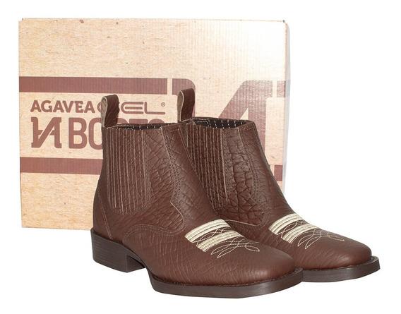 Bota Botina Country Agavea Boots Texana 100% Couro Legítimo