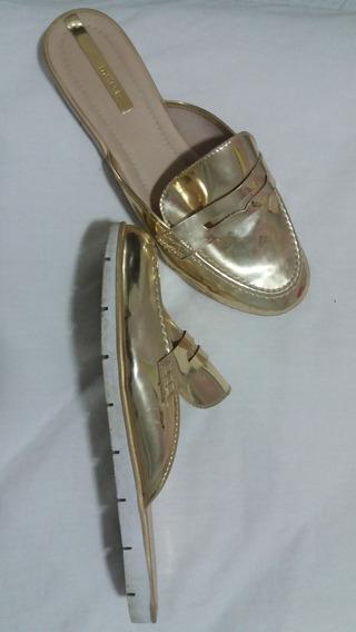 Sapato Mule Dourado