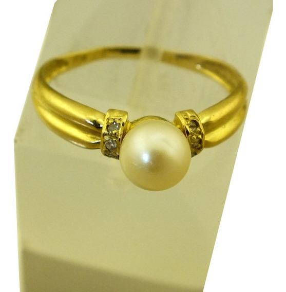 Anel Compromisso Solitario Perola Diamante Ouro 18k J21698