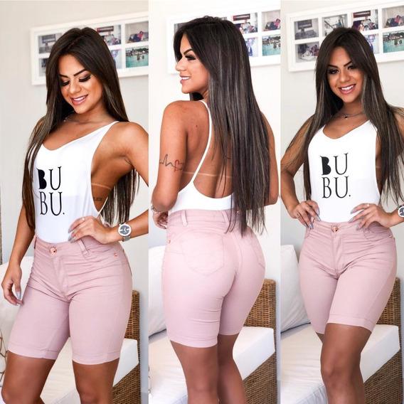 Bermuda Shorts Premium Modelador Jean Feminina Cintura Alta