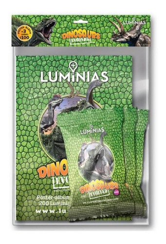 Luminias Poster Album + 3 Sobres Dinosaurios - Juego Cartas
