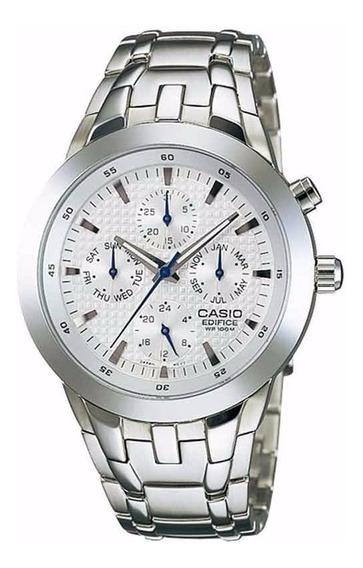 Relógio Casio Masculino Aço Fundo Visor Branco Tamanho Médio