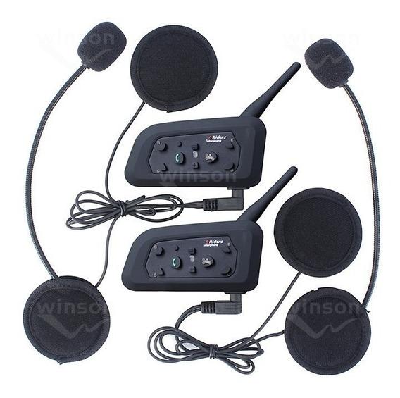 Intercomunicador V6 Moto Bluetooth Capacete Par 1200 Mt