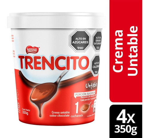 Trencito Untable Chocolate 350g Pack X4