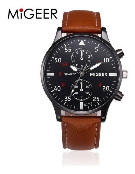 Relógio Megeer Luxo Pulseira Marrom - Couro - Brinde Estojo