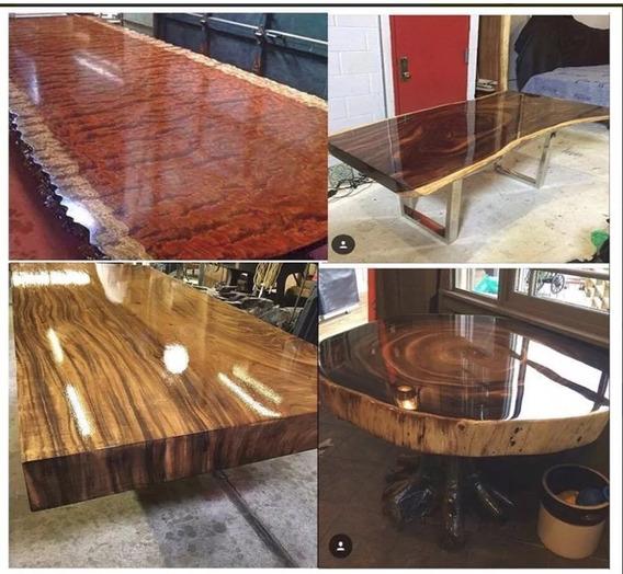 Resina Epoxi Cristal Média: Mesa Madeira River Table 8,70 Kg