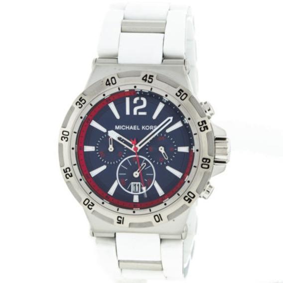Relógio Michael Kors Mk8297 Mens Inox E Fundo Azul