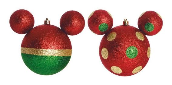 Bolas Mickey Disney 6 Peças Para Pendurar Árvore De Natal