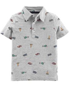 Camiseta Polo Carters Menino Estilo Social Algodão Cinza Car
