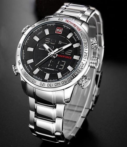 Relógio Masculino Naviforce N9093 Original Prata