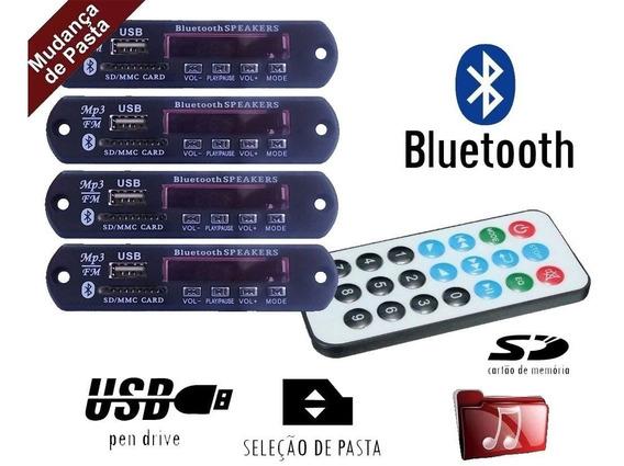 Kit 4 Placa P/ Amplificador Usb Mp3 Bluetooth Muda Pasta