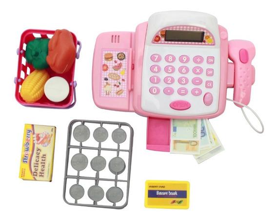 Mercadinho Infantil Caixa Supermercado Dinheiro Rosa Menina