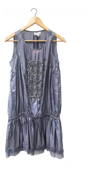 Blusa Vestido Camisola Brillos Noche Fiesta Seda T. L / Xl