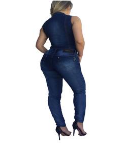 Macacão Jeans Longo Estilo Pit Bull Bojo